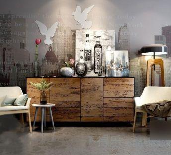 现代时尚椅子边柜陈设品组合