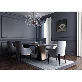 时尚简约冷色调餐厅桌椅组合3d模型