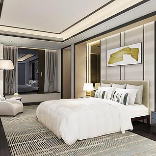 高档简约卧室家具组合3d模型