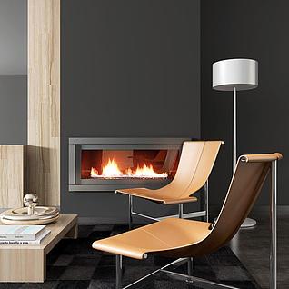高档简约休闲椅子茶几组合3d模型