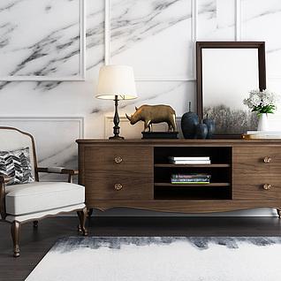 现代时尚大理石柜子3d模型