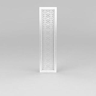 白色镂空雕花隔断3d模型