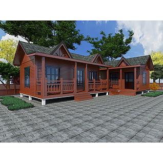 现代实木小木屋别墅3d模型