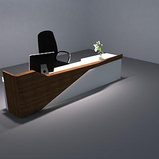 现代公司前台桌椅组合3d模型