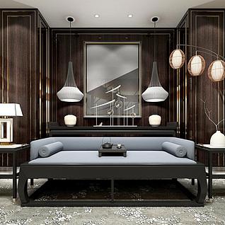 新中式精品实木沙发茶几组合3d模型