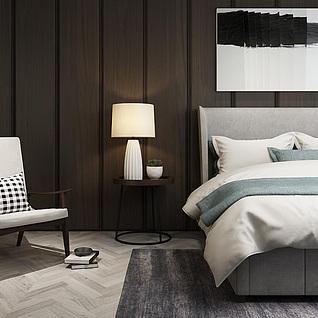 时尚简约卧室家具组合3d模型
