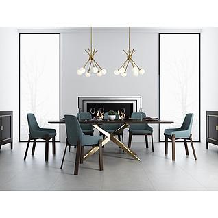 精品高档餐桌椅家具组合3d模型