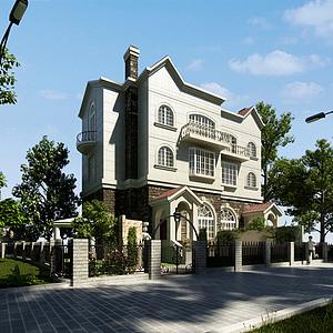 3d現代時尚三層小別墅模型