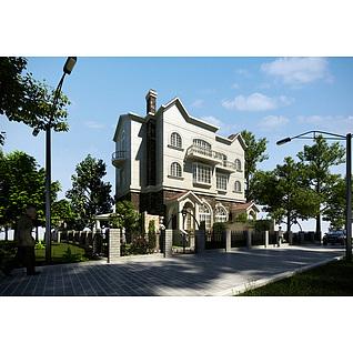 现代时尚三层小别墅3d模型