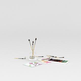 油画笔调色盘组合3d模型