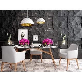 时尚简约餐桌餐椅组合3d模型