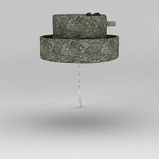 家用小型手工石磨3d模型