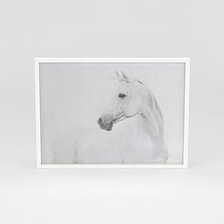 白色实木挂画边框3d模型
