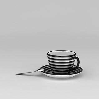 时尚精品条纹咖啡杯3d模型