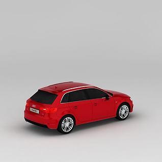 奥迪A3红色汽车3d模型