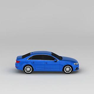 蓝色奥迪A4汽车3d模型