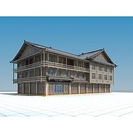 中式复古木屋游客接待中心3D模型3d模型