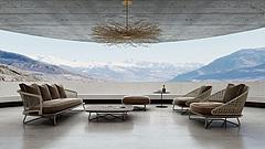 客厅咖啡色休闲沙发椅子组合模型3d模型