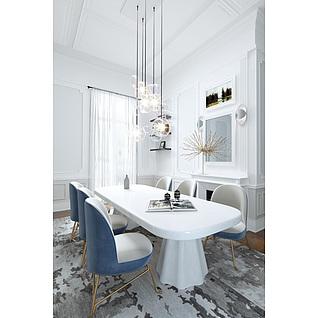 现代时尚蓝白拼色餐桌椅组合3d模型
