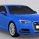 蓝色奥迪A4汽车模型