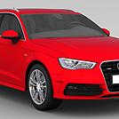 奥迪A3红色汽车模型