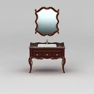 新古典实木浴室柜模型