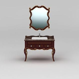 新古典实木浴室柜3d模型