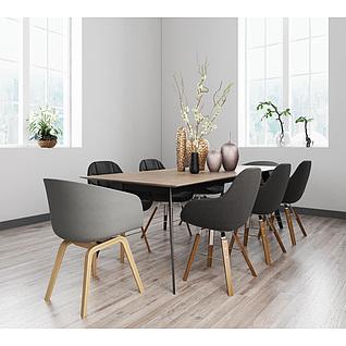 北欧咖啡色餐桌椅组合3d模型3d模型