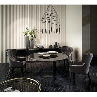精品高档餐桌椅组合3d模型3d模型
