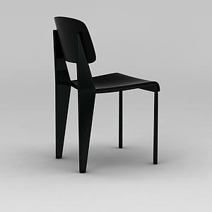 3d北欧黑色简约餐椅模型
