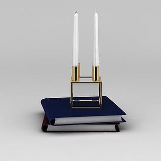 书桌摆品书和烛台3d模型3d模型