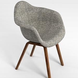 3d北欧灰色创意休闲椅模型