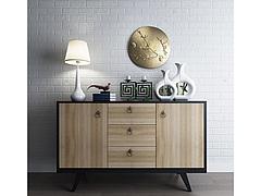现代实木边柜陈设品组合模型3d模型