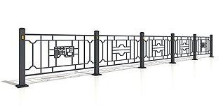 铁栏杆交通护栏3d模型