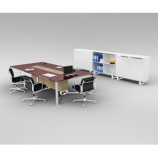 会议室办公桌椅家具组合3d模型