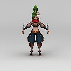 召唤师联盟美女战士游戏人物3D模型3d模型