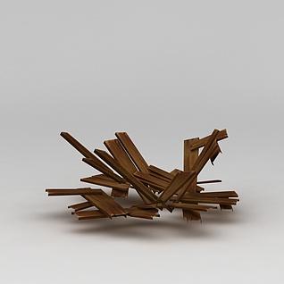 召唤师联盟游戏素材木头3d模型