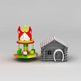 淘气堡电动儿童乐园雪景小屋3d模型