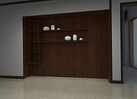现代入墙式储物架3d模型