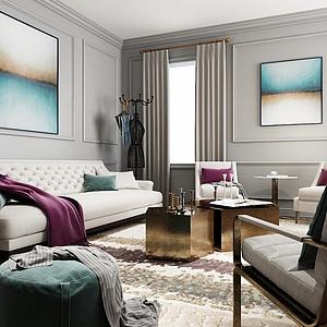 3d現代客廳沙發茶幾組合模型