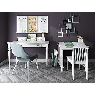时尚白色实木书桌椅组合3d模型3d模型