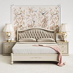 高档卧室双人床3D模型3d模型