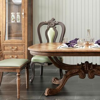 欧式实木餐桌椅组合3d模型
