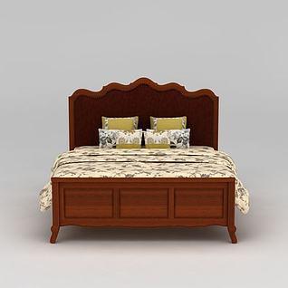 美式乡村实木双人床3d模型