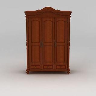 美式乡村实木三门衣柜3d模型