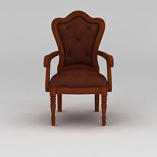 美式实木软包书椅3d模型