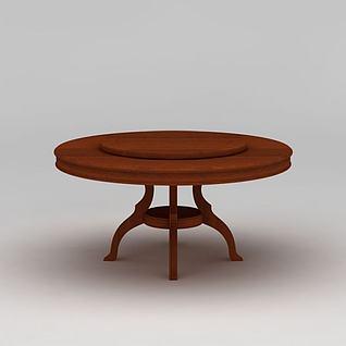 现代实木圆餐桌3d模型