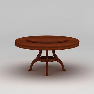 现代实木圆<font class='myIsRed'>餐桌</font>3d模型