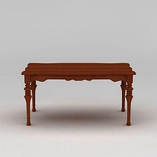 美式乡村风格长餐桌3d模型