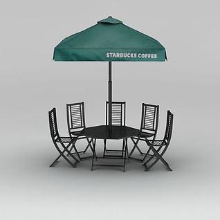 户外露天庭院伞3d模型